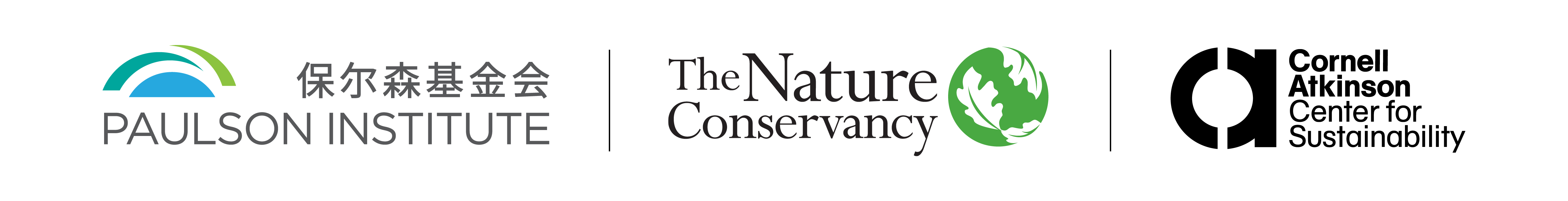 three logos representing Paulson Institute, The Nature Conservancy, and Cornell Atkinson Center for Sustainability