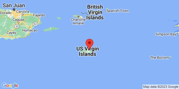 Map with marker: St. Croix, U.S. Virgin Islands